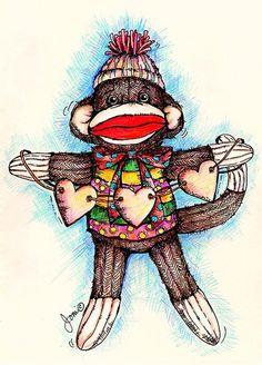Shop Sock Monkey - Monkey Business Postcard created by popartminis. Monkey Illustration, Business Postcards, Monkey Tattoos, Monkey Art, Sock Animals, Baby Animals, Monkey Business, My Socks, Paint Shop