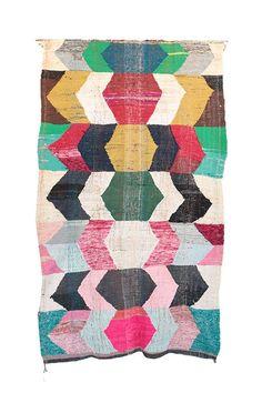 "Vintage Moroccan Kilim Boucherouite, 5'8"" x 9'3"" feet"