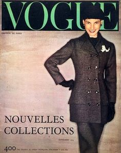 Double breasted suit by Dior, French Vogue Sept. 1954, cover by Clifford Coffin