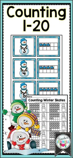 Free Winter Math Center | Free Snowman Counting | Kindergarten Math Pocket Chart Center | Ten Frame Counting Center | Free Numbers to 20 | Decomposing Number | By Teacher Jeanell