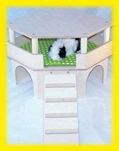 Beautiful corner house for guinea pigs, small animals with a beautiful view, ladder, roof and urindichter edition - Diy Guinea Pig Cage, Guinea Pig House, Guinea Pig Care, Guinea Pigs, Diy Guinea Pig Toys, Eckhaus, Hay Feeder, Hamster Toys, Pet Supply Stores