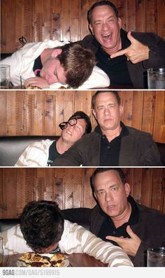 """Tom Hanks agreed to a fan's hilarious request for a series of fake """"wasted"""" photos. Just another reason why Tom Hanks is the man. Colin Hanks, Tom Hanks, Funny Picture Quotes, Best Funny Pictures, Blade Runner, Toy Story, Star Trek, Funny Cute, Hilarious"""