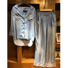 71ce0336c395 2017 spring new suit blue cotton denim cardigan shirt + loose casual women  wide leg pants 2 sets