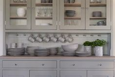 Grey Inset Cabinets. Surprisingly, counter as standing storage isn't annoying nor does it feel messy. Milky tones warm and calming.
