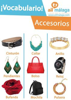 #Accessories are important to complete your #look wether you're a man or a women :) #LearnSpanish #SpanishSchool #SpanishVocab