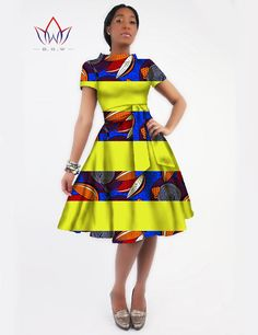 New Women Dress Sashes Jurken Brand Clothing African Print Dress Party Dresses Plus Size Women Clothing Office Dress WY82