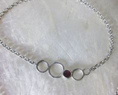 Sterling Silver and Ruby DOT Necklace by vixjewellery on Etsy, $180.00
