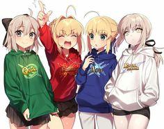 Anime Friendship, Girl Friendship, Loli Kawaii, Kawaii Anime Girl, Chibi, Anime Sisters, Fate Stay Night Series, Arturia Pendragon, Accel World
