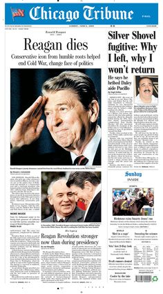 Ronald Reagan dies, Find historical newspapers from Chicago Tribune. Greatest Presidents, American Presidents, Us Presidents, American History, 40th President, President Ronald Reagan, Newspaper Article, Old Newspaper, History Facts