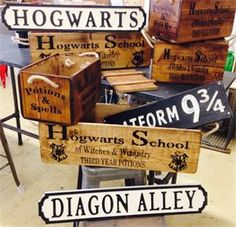 Hogwarts,boxes signs, Hogwarts, Harry Potter, Diagon Alley, Platform 9 3/4! At The Ark, Camberley Surrey!