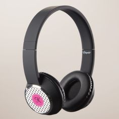 Monogram Black and White Polka Dot with Hot Pink Headphones - initial gift idea style unique special diy