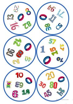 Games in German lessons: Dobble - numbers cards / 6 symbols) - School - Long life English Games, English Activities, Montessori Materials, Teaching Materials, Math For Kids, Activities For Kids, Diy Game, Circle Game, Kindergarten Math