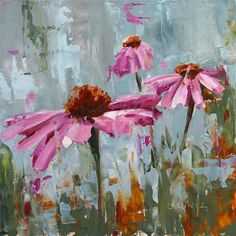 "Daily Paintworks - ""Echinacea Trio Gray"" - Original Fine Art for Sale - © Beverly Bruntz"