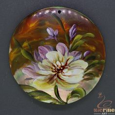Colorful Pendant  Hand Painted Flower Natural Black Lip Shell ZL302776 #ZL #Pendant