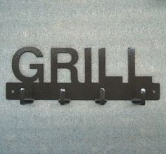 Grill Utensil Metal Art Rack by KnobCreekMetalArts on Etsy, $16.99