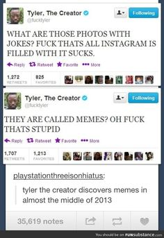 Tyler, the creator discovers memes // funny pictures - funny photos - funny images - funny pics - funny quotes - Golf Quotes, Funny Quotes, Humor Quotes, Life Quotes, Funny Images, Funny Pictures, Funny Pics, Odd Future Wolf Gang, Web Design Tips