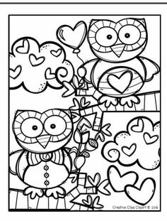 FREE Valentine Coloring Pages {Made by. by Krista Wallden - Creative Clips Valentines Day Coloring Page, Valentine Day Crafts, Coloring Book Pages, Printable Coloring Pages, Coloring Sheets, Coloring Pages For Kids, Free Coloring, Kindergarten Coloring Pages, Creative Clips