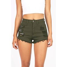 Pink Ice Slicker High Waist Shorts ($38) ❤ liked on Polyvore featuring shorts, bottoms, green, cotton shorts, distressed shorts, distressed high waisted shorts, green shorts and ripped shorts