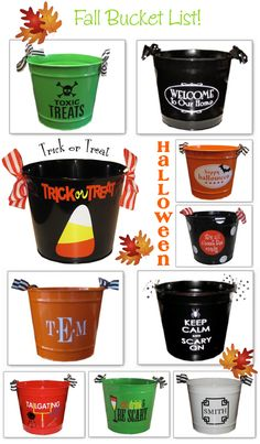 Monogram Buckets, Monogrammed Buckets, Monogram Gifts and Personalized Gift Ideas for teachers students hostess wedding baby easter halloween christmas. Halloween Buckets, Halloween Vinyl, Halloween Silhouettes, Halloween Signs, Fall Halloween, Halloween Crafts, Holiday Crafts, Holiday Fun, Halloween Candy