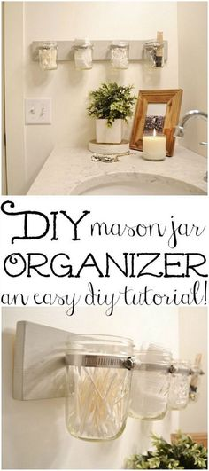 These DIY mason jar holders make great storage for small stuff in the bathroom.