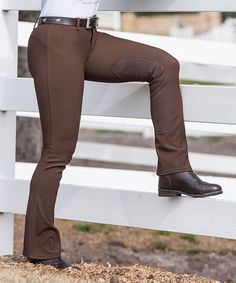 Brown Bootcut Breeches by Devon Air ONLY $19.99 HURRY  Stretch-kissed fabric and a belt-loop waistband give these breeches action-ready comfort  bootcut fit Micro-ribbed 4-way stretch fabric with moisture wick finish Elongated micro-suede nylon knee patches Plush elastic waistband Reinforced seams Flattering contoured fit Faux zip closure Knee patches Reinforced seams 90% polyester / 10% Lycra spandex Machine wash  Horses, pants, riding, lessons, schooling, training, barn, ladies