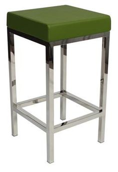 """Albany"" Stainless Steel Frame Backless Padded Bar Stool in Green - AU$129 - https://www.simplybarstools.com.au/products/albany-stainless-steel-frame-backless-padded-bar-stool-in-green – Simply Bar Stools  - steel, backless, fixed leg, bar stools. #Australia #Furniture"