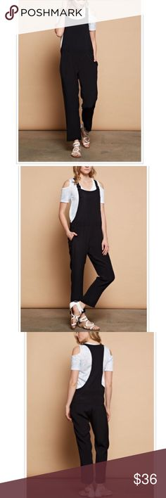 chic black jumpsuit overalls Great black chic jumpsuit overalls PLEASE Use the Poshmark new option you can purchase and it will give you the option to pick the size you want ( all sizes are available) BUNDLE and save 10% ( no trades price is firm unless bundled) Pants Jumpsuits & Rompers