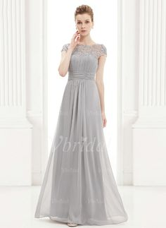 Evening Dresses - $134.98 - A-Line/Princess Scoop Neck Floor-Length Chiffon Evening Dress With Ruffle Lace Beading (0175092119)