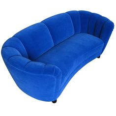 1930s Danish Deco Blue Mohair Sofa | From a unique collection of antique and modern sofas at https://www.1stdibs.com/furniture/seating/sofas/