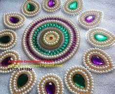 what is Kundan Rangoli Diwali Diy, Diwali Craft, Diwali Rangoli, Diy Diwali Decorations, Festival Decorations, Hand Embroidery Designs, Beaded Embroidery, Acrylic Rangoli, Silk Thread Bangles Design