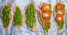 Thin chicken slices are stuffed with tomato and basil pesto for a quick meal bursting with Tuscan flavors.