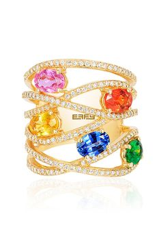 Effy Watercolors 14K Yellow Gold Multi Sapphire and Diamond Ring, 3.50 TCW - Watercolors - Collections