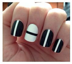 Black and white chic nails.
