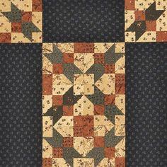 Capture the colors of autumn in an easy-to-piece table runner. Fabrics are from two Kansas Troubles Quilters collections: Cattails & Clover (blocks) and Vine Creek (border), both from Moda Fabrics.