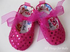 Baby shoes girls  fuchsia pink ballet flats by allthingsforbaby, $27.00