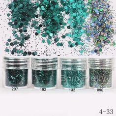 1 box 10 ml verde scuro del chiodo polvere glitter hexagon rotonda fogli sottili polvere consigli dust decorazione nail art #18758