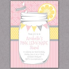 Shabby Chic Mason Jar Lemonade Party Invitation Printable - Bunting - Pink Lemonade Stand Birthday Party Invite - Bridal or Baby Shower. $16.00, via Etsy.