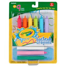 Crayola Bathtub Crayons by Crayola. $13.58. Bring out your child's creativity and imagination with Crayola Bathtub crayons!. Ages 3+. Crayola 9 Count Bathtub Crayons. Nine colors include: leprechaun green, firefly red, little boy blue, copper penny orange, bear hug brown, vivid purple - and introducing 3 new colors: Cotton Candy, Sky Blue & Fern.. Create masterpieces on your bathtub wall!. Bring out your child's creativity and imagination with Crayola Bathtub crayons! C...
