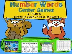 """This set includes seven games to help your little ones practice reading and writing number words.The games are great to be used at a center or with a partner or even with the whole class. (Lotto Fun!)Games can be printed in color or black and white!The games are:Count Your Lucky StarsThree In A RowRoll and GraphMemoryCount Around the RoomEye Spy NumbersLotto Fun!Be sure to check out the preview for more details.This set is bundled with my Number Word Worksheet Set.Look for """"Number Words…"""