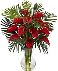 Artificial Flowers Red Calla Lily And Areca Palm Flower Arrangement Silk Flowers Tropical Flowers, Tropical Flower Arrangements, Church Flower Arrangements, Church Flowers, Beautiful Flower Arrangements, Funeral Flowers, Exotic Flowers, Faux Flowers, Silk Flowers