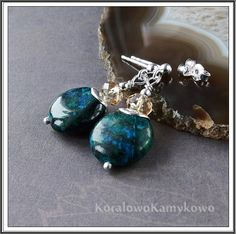 Green... Silver earrings with chrysocolla & Swarovski Crystall.