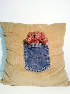 Teddy Bear Pocket Pillow Plush Baby Soft Corduroy Denim Pocket Handcrafted NEW