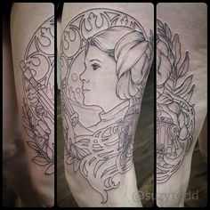 Another rad #mucha inspired #princessleia tattoo from @suzytodd!! #starwars #starwarstattoo #princessleiatattoo #muchatattoo #alphonsemuchatattoo