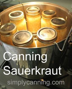 Recipe: It Can't Get Any Easier for the Perfect 'kraut! Simply Canning - A fermented sauerkraut recipe and directions for home canning. Simply Canning - A fermented sauerkraut recipe and directions for home canning. Canning Sauerkraut, Canning Cabbage, Homemade Sauerkraut, Sauerkraut Recipes, Cabbage Recipes, Canning Tips, Home Canning, Canning Kitchen Ideas, Pressure Canning Recipes