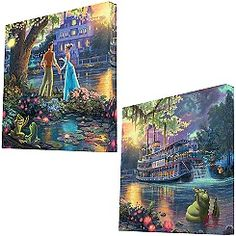 ''The Princess and the Frog'' Gallery Wrapped Canvas by Thomas Kinkade -- Set of 2