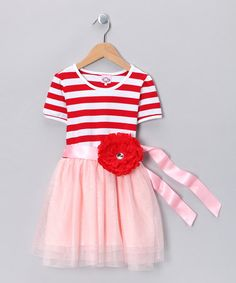 Red & Pink Stripe Tutu Flower Dress - Toddler & Girls by Kosse Designs  #zulily