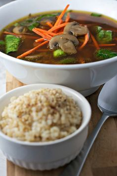 Immunity-Boosting Miso Soup - Mix up your weeknight dinners by adding some umami flavors with the digestive system-stimulating and immune system-strengthening powers of miso. Miso, a complete protein, harmonizes with toasted sesame seed oil and fresh ginger root in this bowl and provides a generous amount of nutrients for only 84 calories.