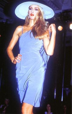 Jerry Hall modeling for designer Anthony Price