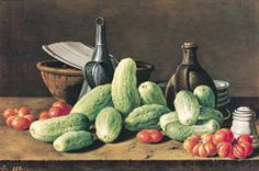 Still Life with Cucumbers and Tomatoes (oil on canvas)