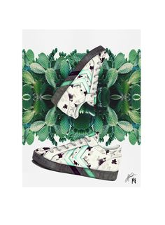 Author: Aurelija Norkunaite  Project: Illustrations & Styling of hummel shoes. Inspiration: Artistic Camouflage/ Marble /Cactus, green Prickly Pear Cactus. Description: Shoes - hand drawn + digital finish, mixed media (colourful pencils and water colours), kaleidoscopic transformation of a cactus picture found on internet. 2016.02